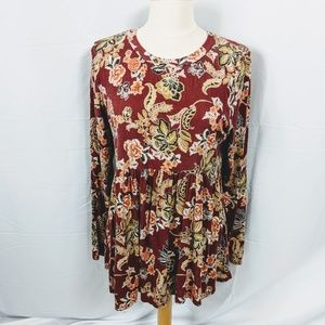 Lovely Melody Floral Print Baby Doll Top